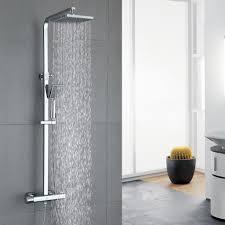 duschsystem thermostat duscharmatur eckig regendusche duschset dusche inkl 3 strahlarten handbrause duschkopf duschstange duschsäule für badezimmer