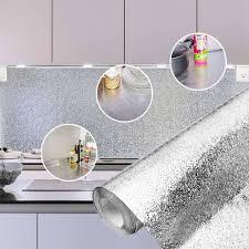 2 rollen selbstklebend küche wand fliesen aufkleber wasserfest öl beweis aluminium folie 3m 60cm