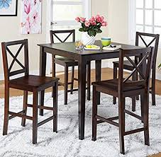 5 Piece Counter Height Dining Room Set Dinette Sets Kitchen For 4 Persons Home