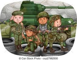 Male And Female Soldiers In The War Zone Vectors
