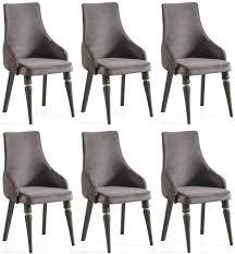 casa padrino luxus deco esszimmer stuhl set grau schwarz gold 57 x 55 x h 98 cm edles küchen stühle 6er set deco esszimmer möbel