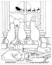 Christmas Cat Coloring Pages As Well Books To Set The Holiday