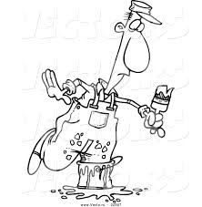 Vector Of A Cartoon Painter Stepping In Bucket