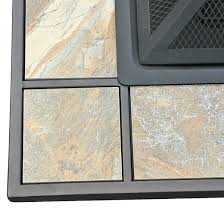 33 2 in 1 slate look ceramic tile top pit and grill square