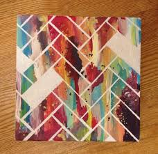 Make A Herringbone Pattern With Masking Tape Community Post 22 Incredibly Easy DIY Ideas For Creating Your Own Abstract Art