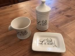 badezimmer set keramik aufbewahrung deko nostalgie shabby chic