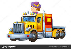 100 Funny Truck Pics Cartoon Scene Happy Child Girl Cargo Trailer