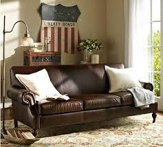 turner leather roll arm photo in pottery barn leather sofa home