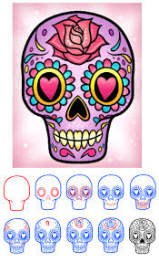 Sugar Skull Pumpkin Pattern by How To Draw A Sugar Skull Easy Step 1 Art For Students
