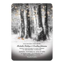 Rustic Winter Tree Amp String Lights Wedding Card