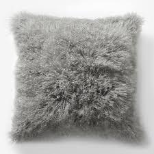 Mongolian Lamb Pillow Cover Platinum Square