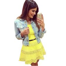 2015 Teenage Girls Fashion Clothing Petite Women Slimming Mini Cute Yellow Lace Dress Minnie Renda