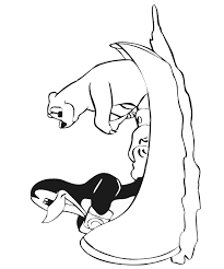 Penguin And Polar Bear Coloring Page Rowing A Canoe