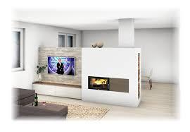 kachelofen modern mit sichtfenster und tv wand kachelofen