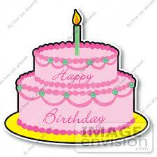 Clipart of a Pink Girl s Birthday Cake With Two Layers And e Candle