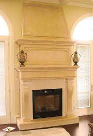 stone mantelpiece  Two Story limestone Living Room fireplace