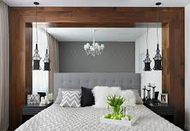 Bedroom Interior Design Ideas Upholstered Bed Headboard Mirror Wall