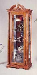 chippendale style solid oak wood curio china cabinet w interior