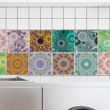 stickers carrelage salle de bain pvc wall sticker arabe motif style fleurs perle stickers