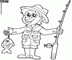A Fisherman Happy With His Prey Fishing Rod Coloring Page