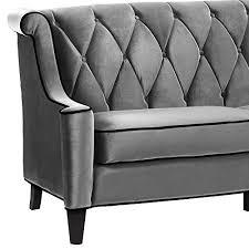 Armen Living 844 Barrister Sofa by Armen Living 844 Barrister Sofa Gray Velvet Black Piping Amazon