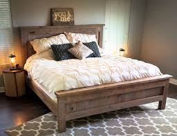 ana white farmhouse king bed knotty alder and grey stain diy