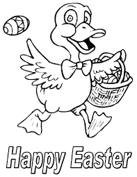 Happy Easter Coloring Pages Ducks Hunting Eggs