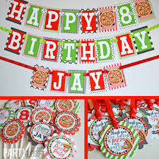 Pizza Party Birthday Party Banner Pizza Themed Party Fully Etsy