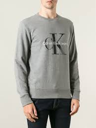 calvin klein jeans crew neck sweatshirt in gray for men lyst