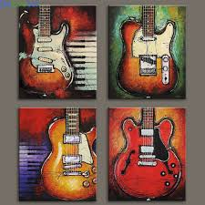 4 Pieces Still Life Pictures Print On Canvas Abstract Guitar Wall For Living Room