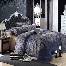 Dark Blue and Grey Shabby Chic Traditional Paisley and Tribal