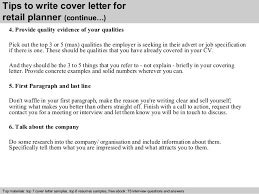 4 Tips To Write Cover Letter For Retail Planner