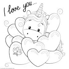 Unicorn Coloring Page Valentine Card With Cute Cartoon In Hearts For Adults