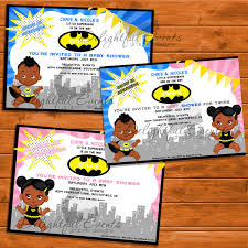 Baby Boy Baby Girl Twins Bat Super Hero Baby Shower Invitation By