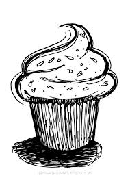 Drawing Black and White Cupcake Clipart