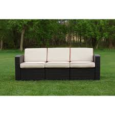 Outdoor Deep Seating Sectional Sofa by Keter California 3 Seat Resin Rattan Patio Sofa With Cushions