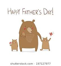 Cute Dad Bear With Children On Walk In The Forest Happy Fathers Day Greeting Card