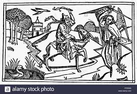 BALAAM AND ASS NBalaams Ass Perceives The Angel Of Lord Unseen To Balaam Numbers 22 24 Woodcut From Cologne Bible 1478 80
