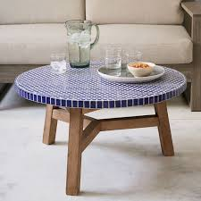 mosaic tiled coffee table blue west elm