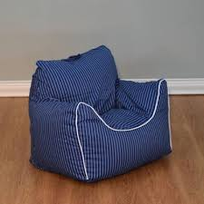 Pinstripe Bean Bag Chair With Removable Cover In Navy White