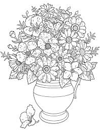 This Coloring Page Features A Large Pot Of Flowers Add Some Color To Make Them