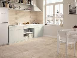 modern kitchen tile flooring and wooden tiled splashback floor