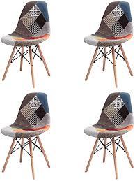 grobkau 4er set esszimmerstühle modern patchwork stoff gepolstert mit dübel holzfuß ideal für wohnzimmer esszimmer café wartezimmer etc rot