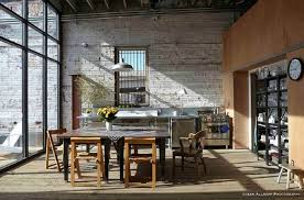 light in industrial kitchen large glass wall wooden square