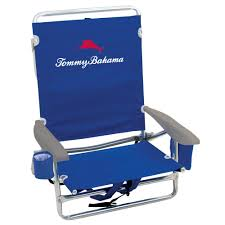 blue lay flat backpack folding chair with padded head rest tommy