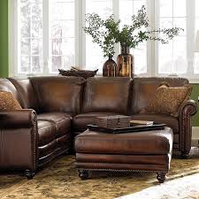 Rustic Leather Sectional Sofa Dark Brown Colored Sofas Small Size Two Flower Vas Retro Classic Style