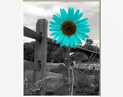 Sunflower Decor Teal Wall Art Landscape Gray Bathroom Bedroom