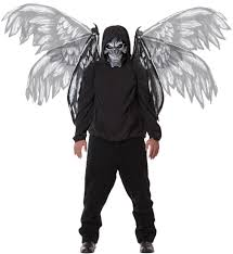 Scary Characters For Halloween fallen angel mask and wings scary costume costume craze