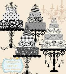 Elegant Black White Silver Grey Wedding Cakes Set Clipart