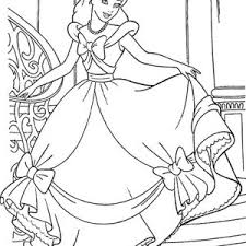 Princesses Birthday Cinderella Is Happy With Her Gown In Coloring Pages